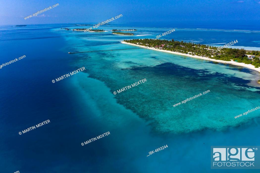 Aerial View Lagoon Of The Maldives Island Bodufinolhu Or