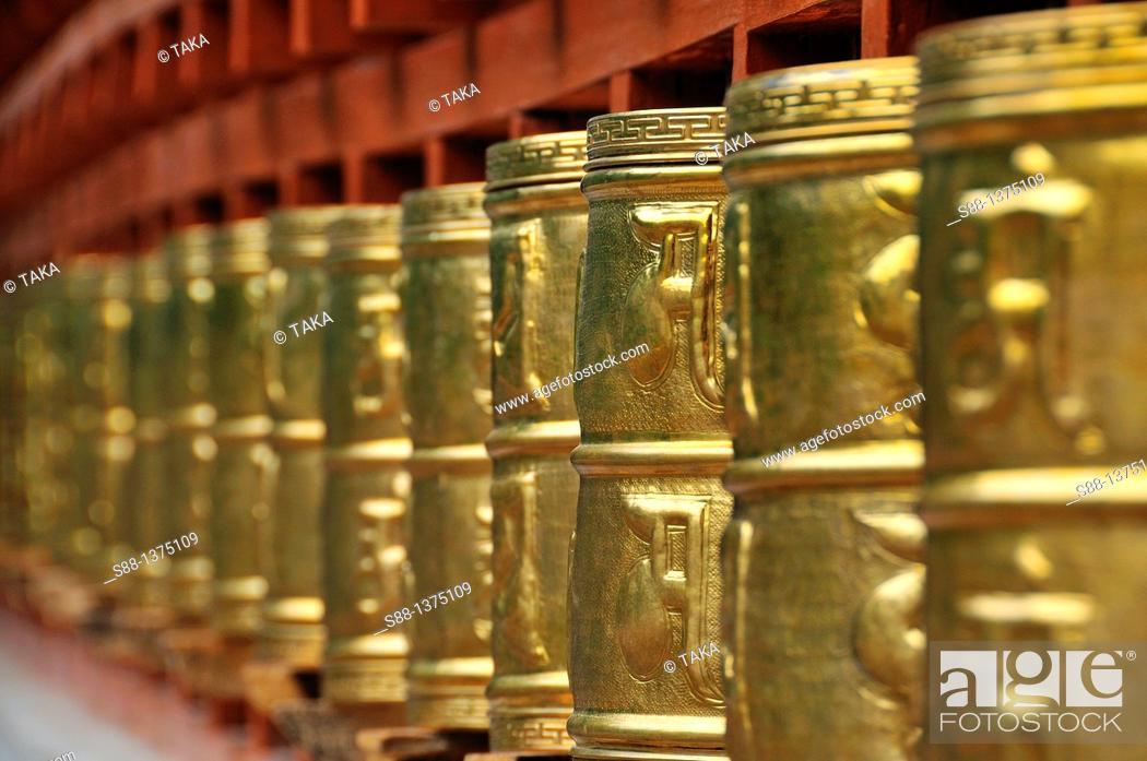 Stock Photo: Prayer wheel at Alchi monastery.
