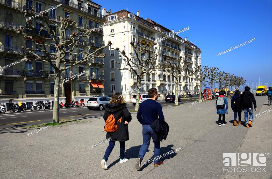 Stock Photo: Quai du Mont-Blanc - promenade along Lake Geneva bank, Geneva, Switzerland, Europe.