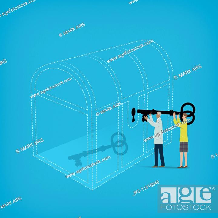 Photo de stock: Businessman and businesswoman cooperating to open large treasure chest with key inside.