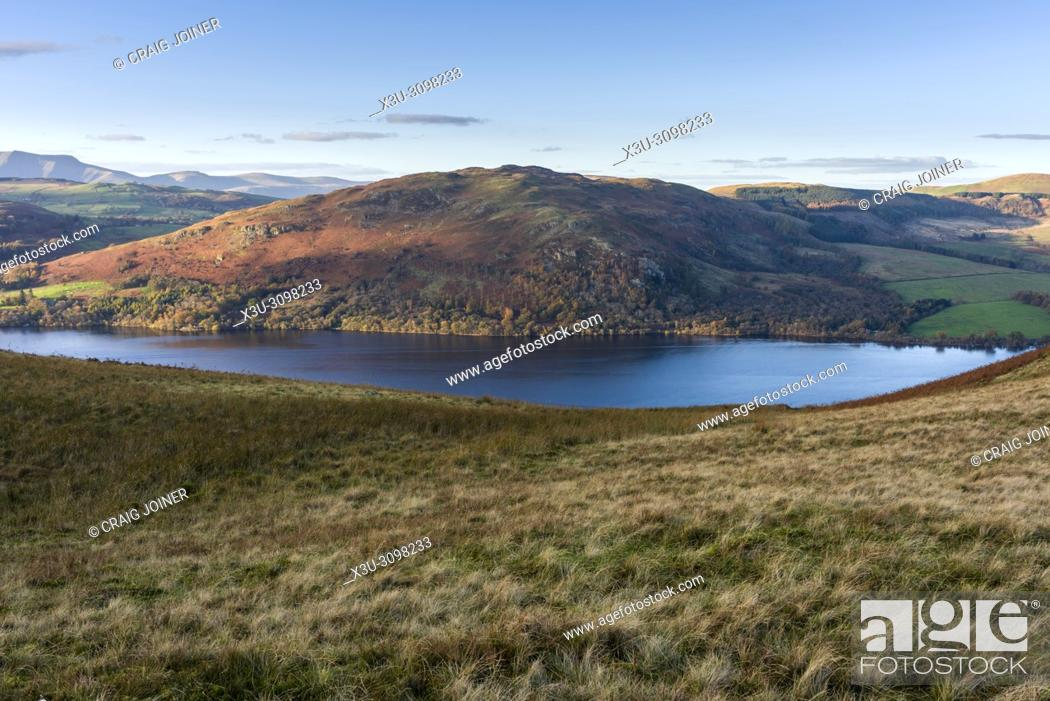 Stock Photo: Gowbarrow Fell and Ullswater from Sleet Fell in the Lake District National Park, Cumbria, England.