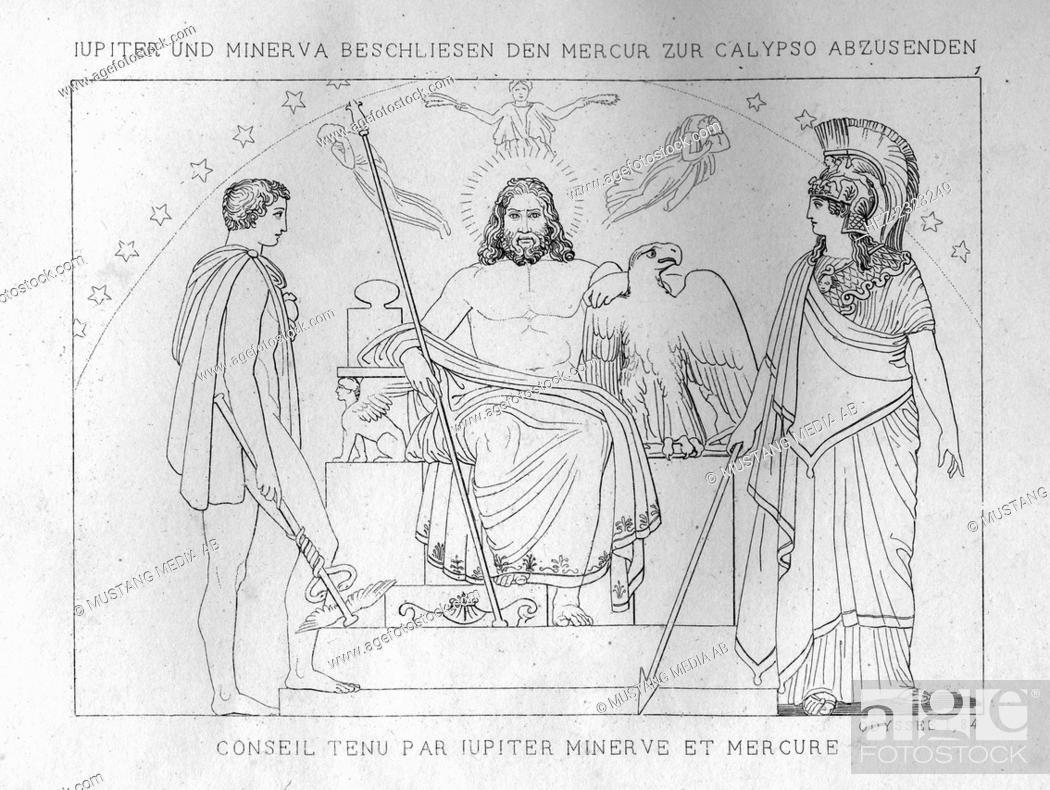 Zeus And Athena Decide To Send Hermes Calypso C1833 Stock Photo