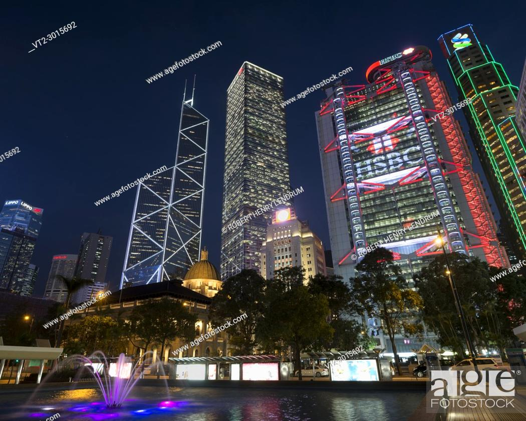 Stock Photo: Central financial district and city center skyline, Hong Kong, China.