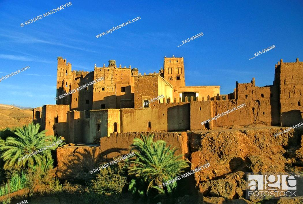 Stock Photo: Morocco, Near Quarzazate, Glaoui Kasbah at Tamdaght.