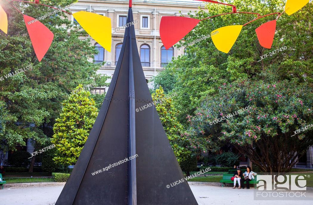 Stock Photo: Carmen sculpture by Alexander Calder, in Sabatini garden of Reina Sofia National Art Museum, Madrid, Spain.