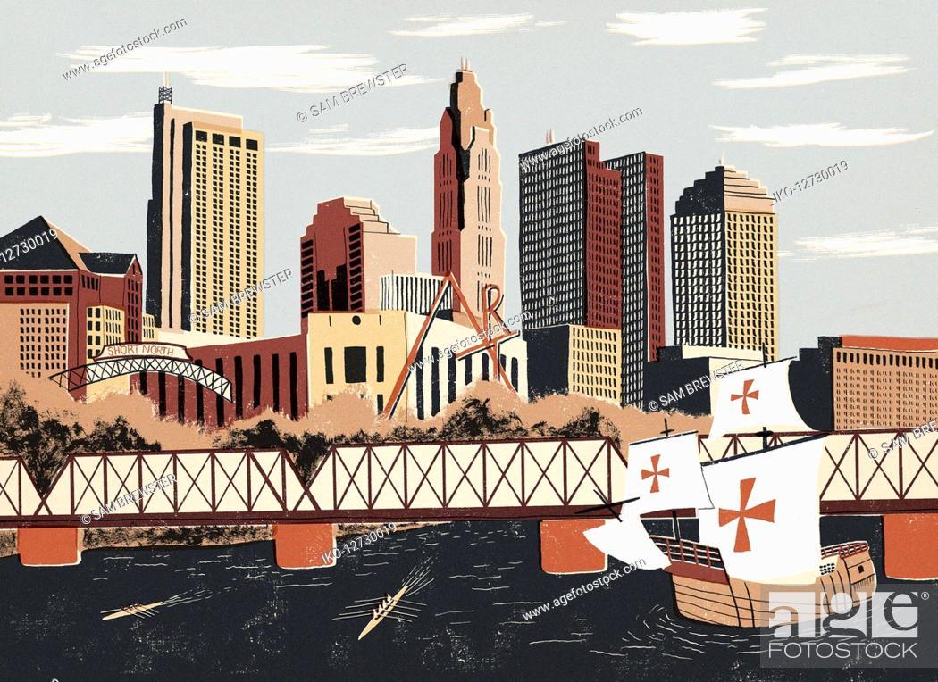 Stock Photo: Illustration of replica sailing boat and Columbus cityscape.