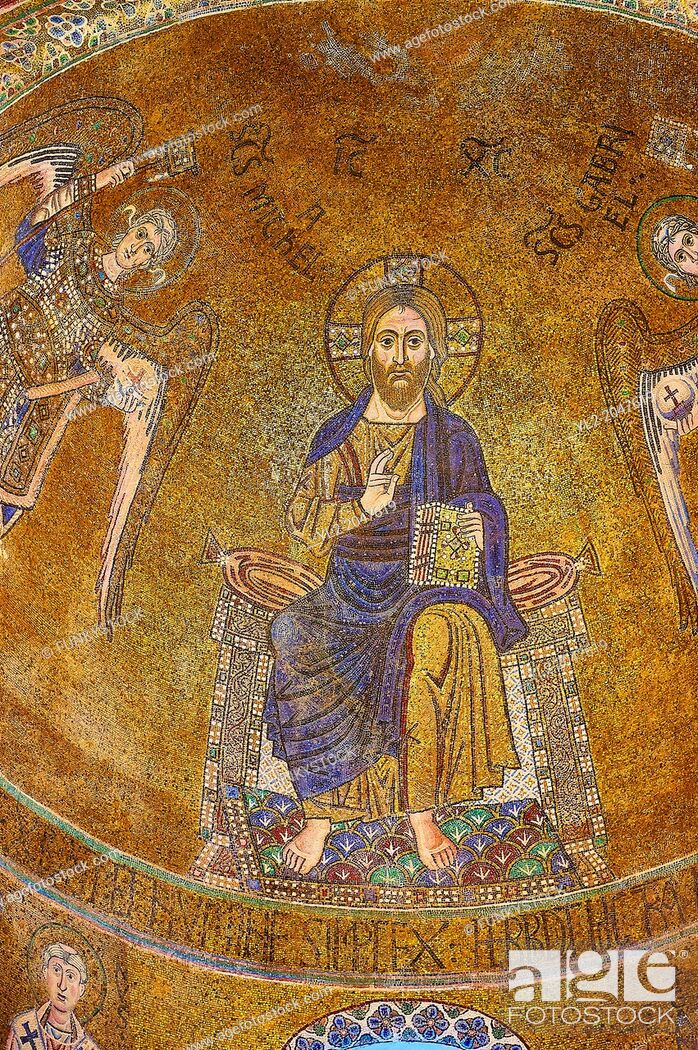 Stock Photo: Byzantine Mosaics of Christ Pantocrator above the side chapel of the Cathedral of Santa Maria Assunta (Cattedrale di Santa Maria Assunta) is a basilica church.