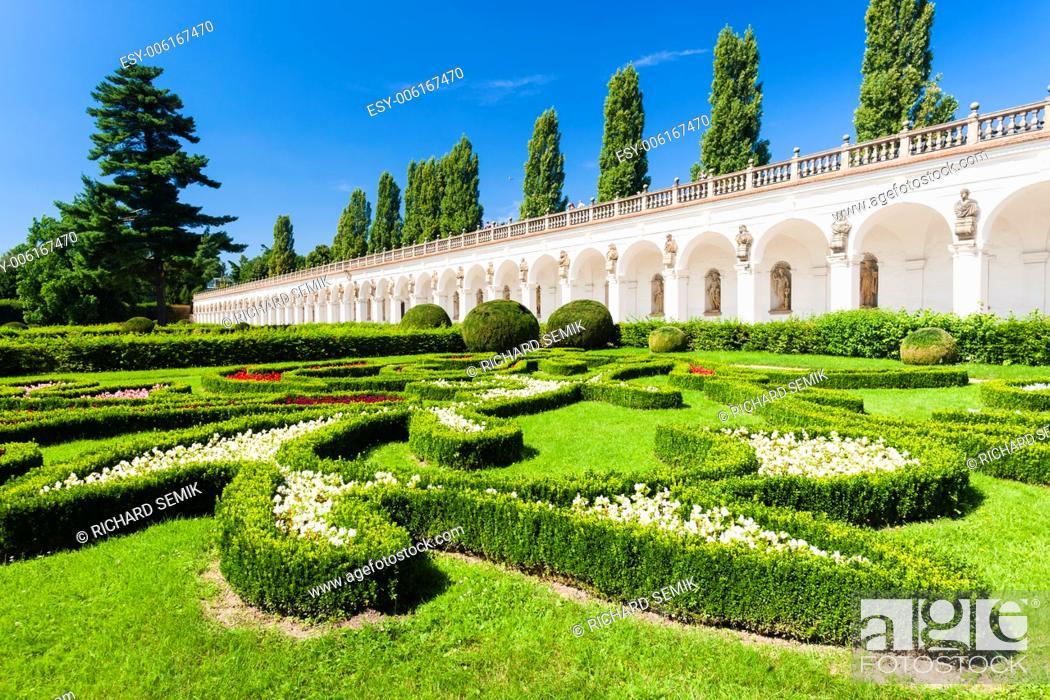 Stock Photo: Flower garden of Kromeriz Palace, Czech Republic.