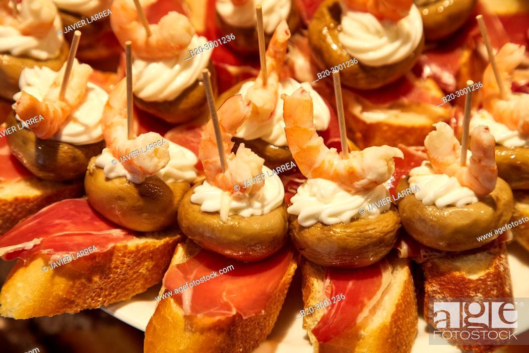 Stock Photo: Ham, mushroom and shrimp, Pintxos, Bar Taberna Aralar, Parte Vieja, Old Town, Donostia, San Sebastian, Gipuzkoa, Basque Country, Spain.