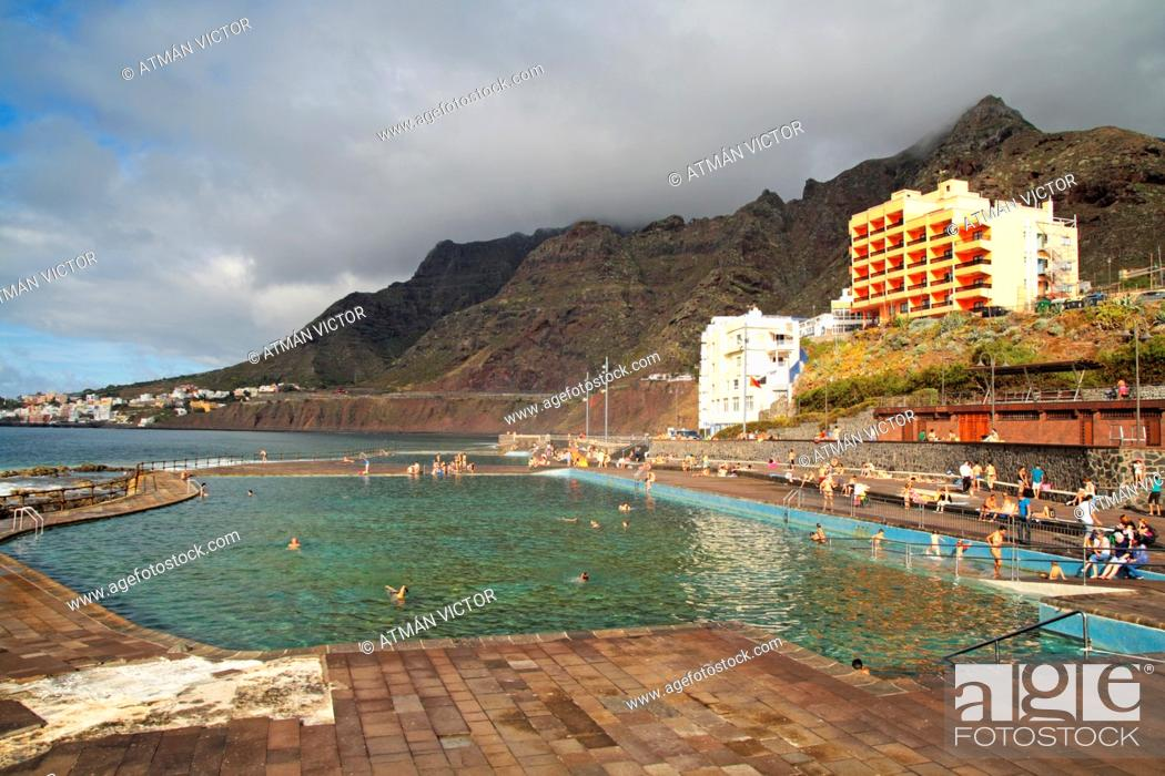 Stock Photo: Low tide pools on the island of Tenerife.