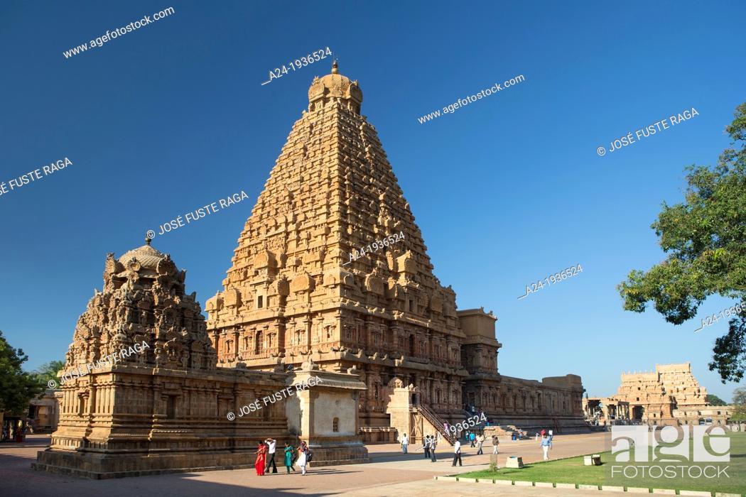 Stock Photo: India , Tamil Nadu State , Thanjavour City (Tanjor), Sri Brihadeshwara Temple (W.H.).