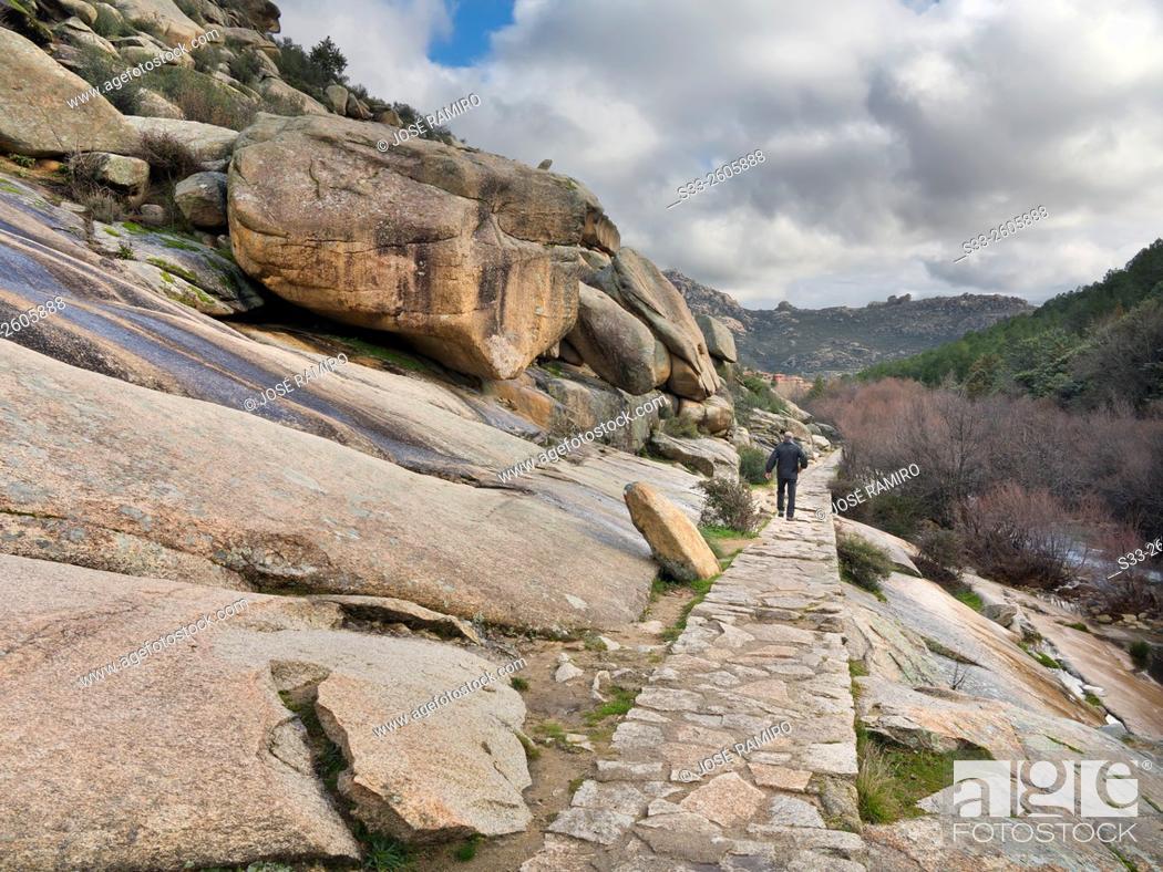 Stock Photo: Track in Camorza gorge in the Pedriza. Sierra de Guadarrama. Manzanares el Real. Madrid. Spain. Europe.