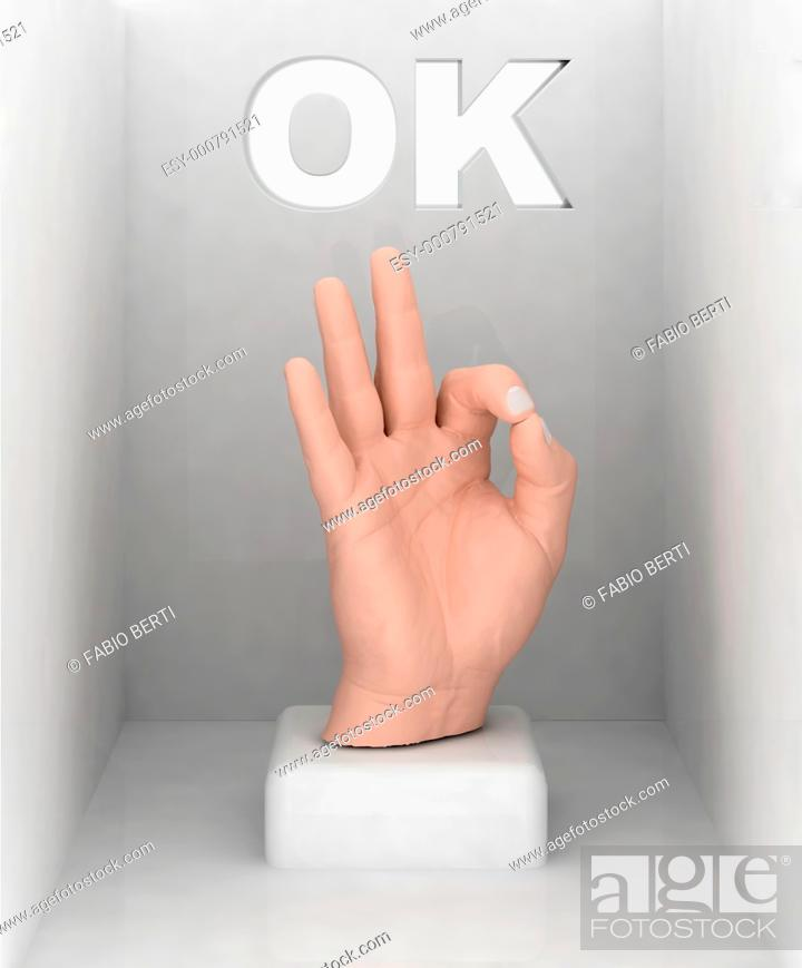 Stock Photo: the hand that does ok, 3d illustration.