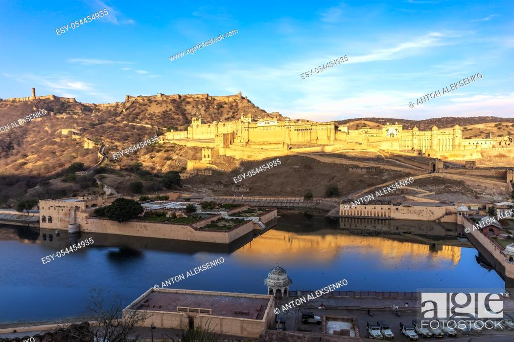 Stock Photo: Amber Fort and the lake view, Jaipur, Rajasthan, India.