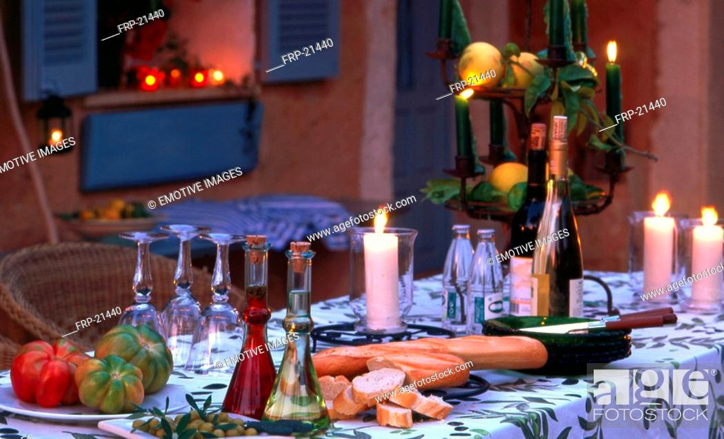 Stock Photo: Table setting in southern ambience.