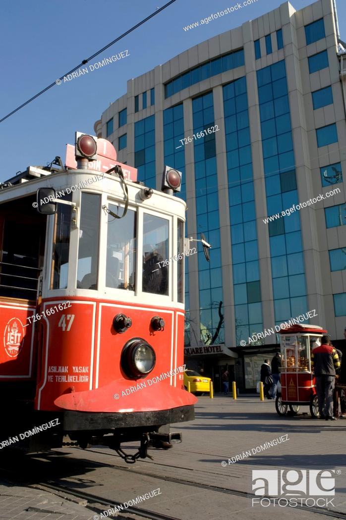 Stock Photo: Tramway in west side. City of Istanbul, Turkey.