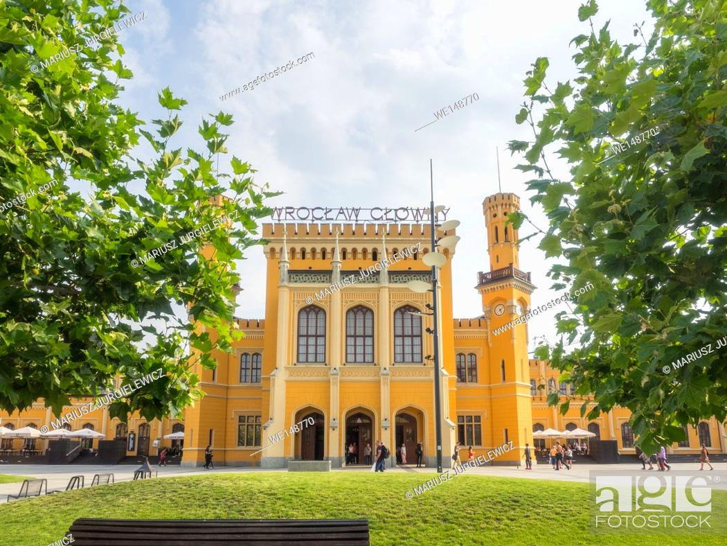 Stock Photo: Wroclaw Main Station is the largest and most important passenger station of the southwestern Poland. Built in the mid-19th century near the centre of the city.
