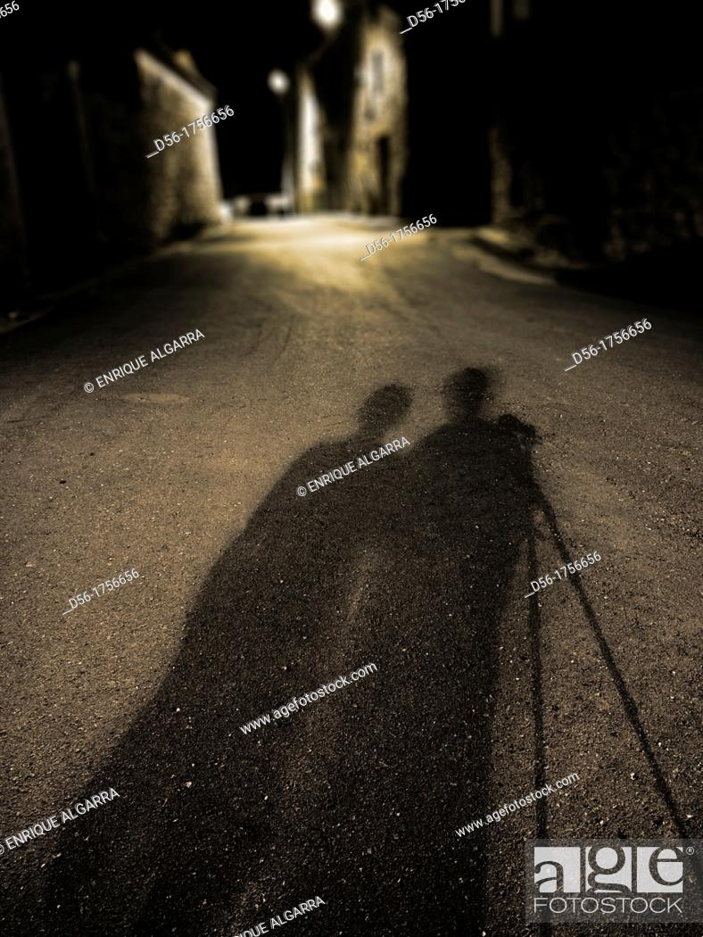 Stock Photo: Shadow of photographers at night, Corbalan, Teruel province, Aragón, Spain.
