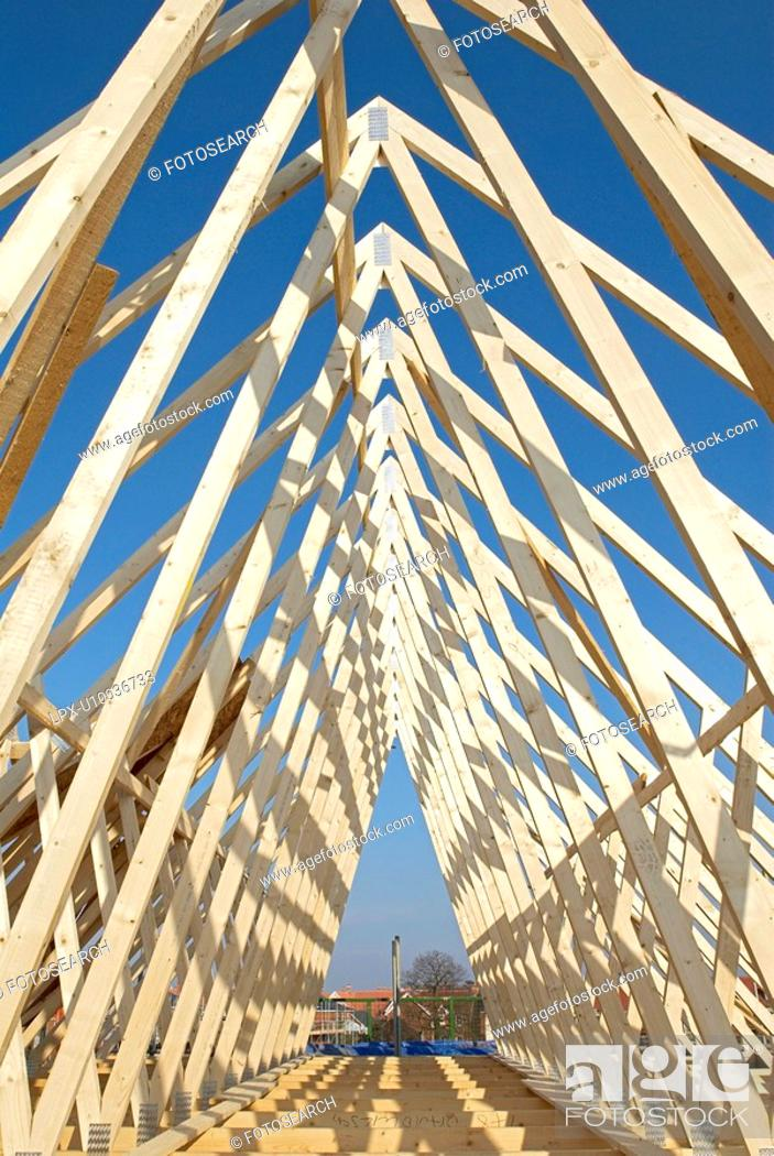 Stock Photo: Roof trusses.