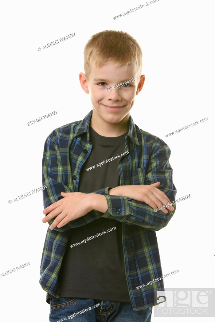 Stock Photo: Hell lie down for a confident boy with a pleasant smile.