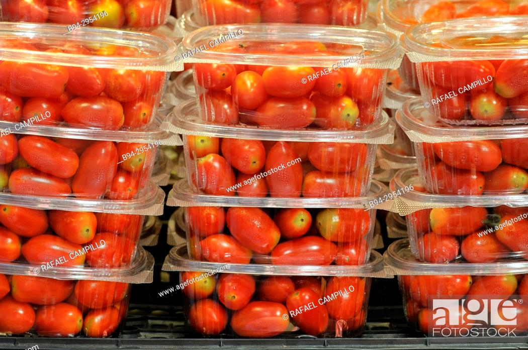 Stock Photo: Cherry tomatoes for sale. Barcelona, Catalonia, Spain.