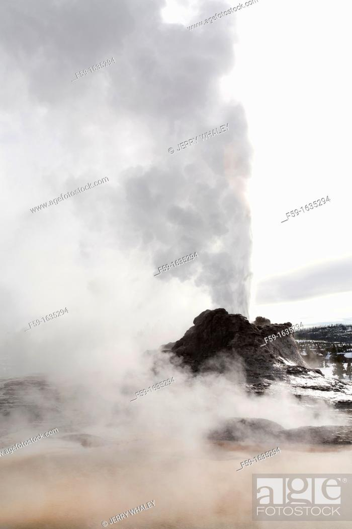 Stock Photo: Castle Geyser, Erupting, Yellowstone NP, WY.