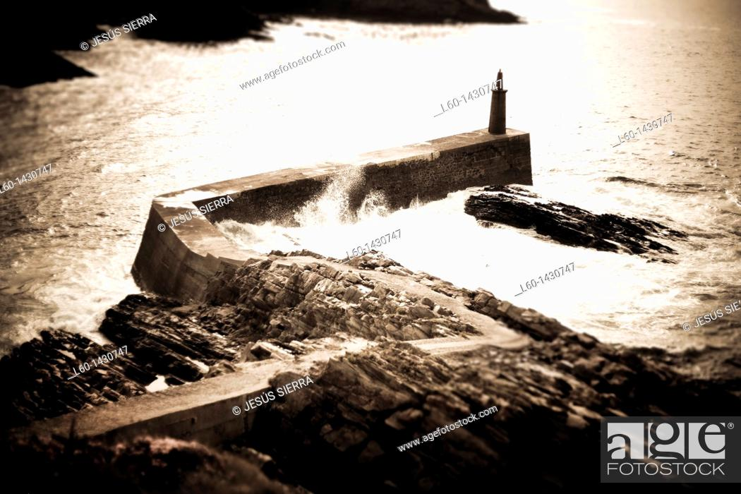 Stock Photo: Harbour in Viavelez, Asturias, Spain.