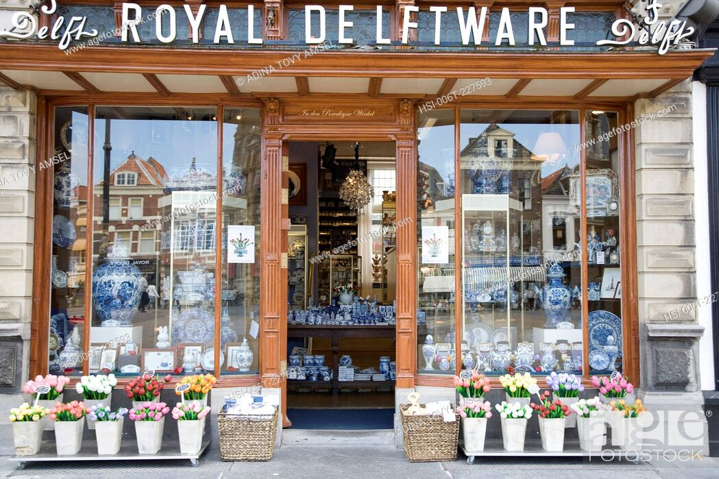 Stock Photo: Royal Delftware pottery shop front in Delft. Netherlands.