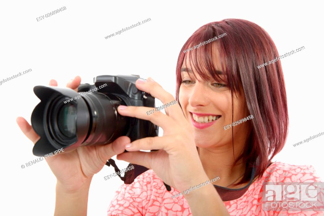 Stock Photo: Young woman with photo camera. Isolated over white background.