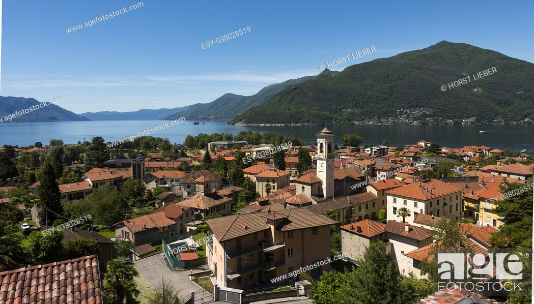 Stock Photo: View over Maccagno to the southern part of Lake Maggiore - Maccagno, Lake Maggiore, Varese, Lombardy, Italy.