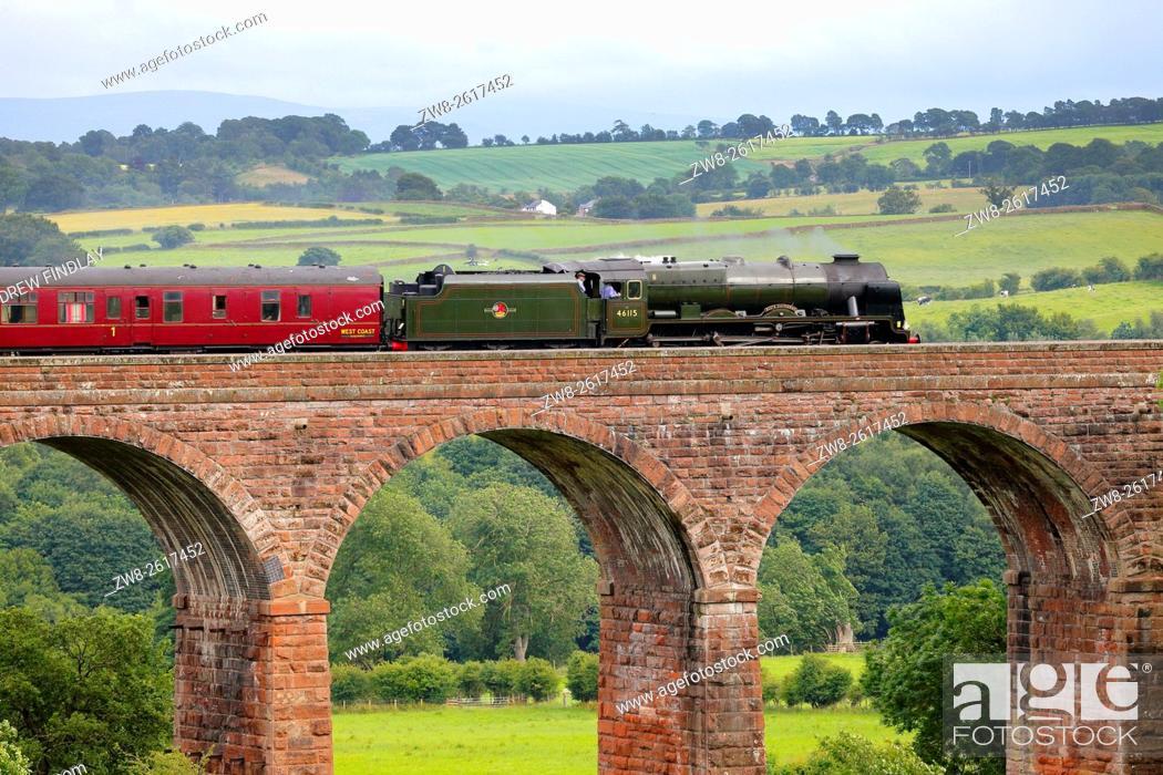 Stock Photo: Settle to Carlisle Railway Line. Steam train LMS Royal Scot Class 46115 Scots Guardsman 'The Fellsman', on Dry Beck Viaduct.