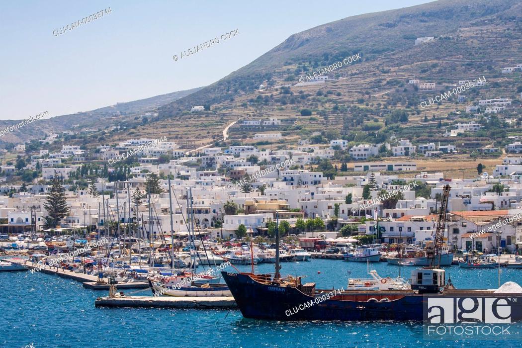 Stock Photo: Port in Parikia, Paros, Greece, Western Europe.
