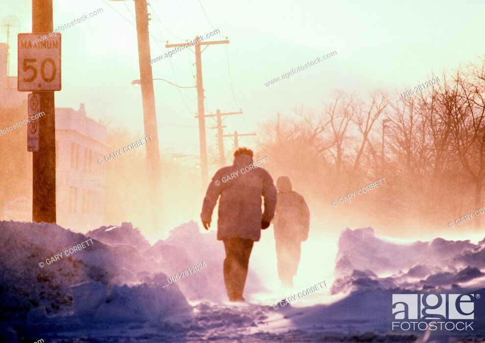 Stock Photo: people walking on a cold winter day in blizzard conditions.