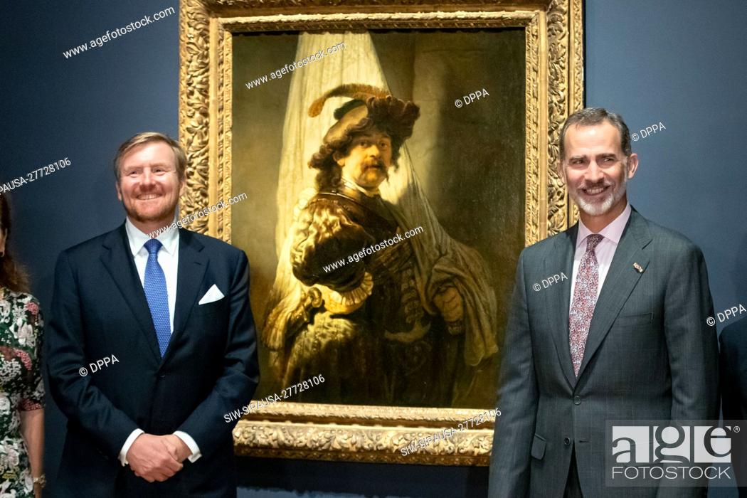 Stock Photo: King Willem-Alexander and King Felipe attend the opening of the Rembrandt-Velazquez exhibition at the Rijksmuseum in Amsterdam.
