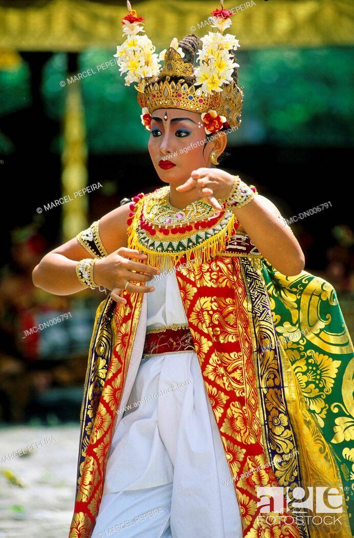 Stock Photo: Indonesia, Bali, Legong dancers.