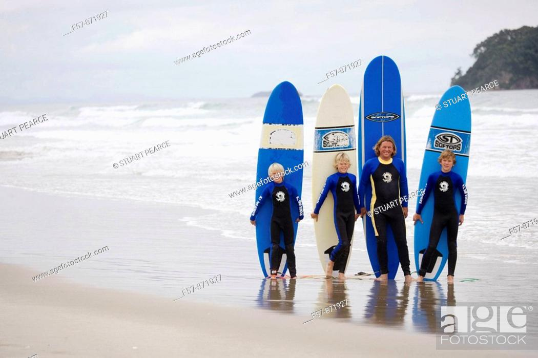 Stock Photo: Surf School in Mt  Maunganui, North Island, New Zealand.