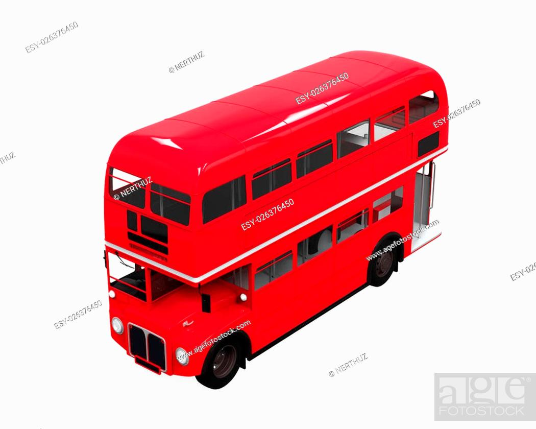 Photo de stock: Double Decker Bus isolated on white background. 3D render.