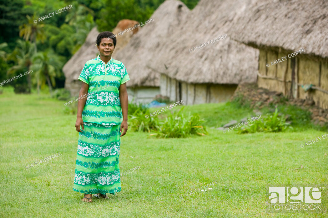 Stock Photo: A Fijian women in Navala village in the Fijian highlands the only village left on the island still composed entirely of traditional Bure houses.