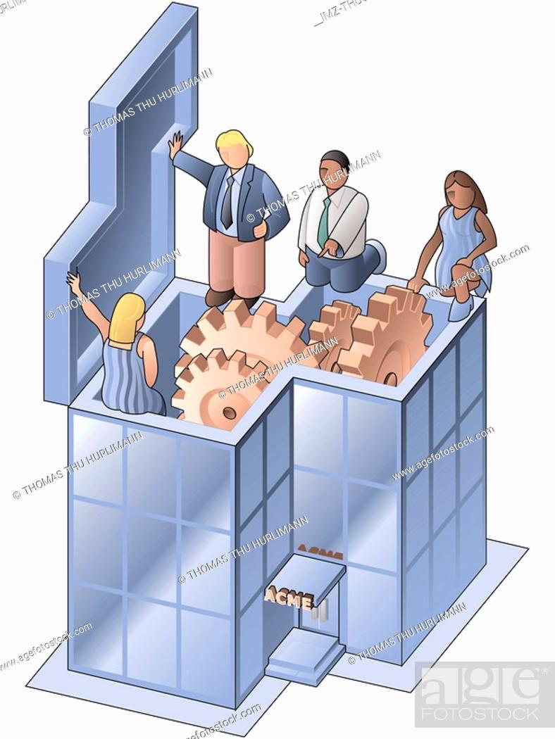 Stock Photo: people inspecting a company.