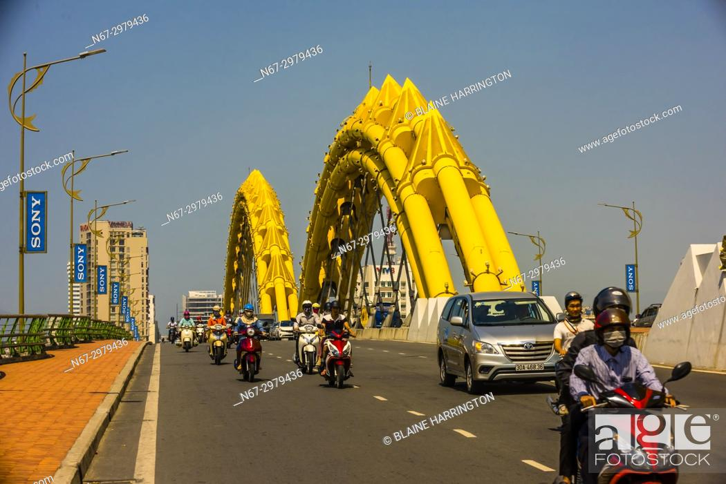 Stock Photo: Dragon Bridge on the Han River, Danang, Vietnam.