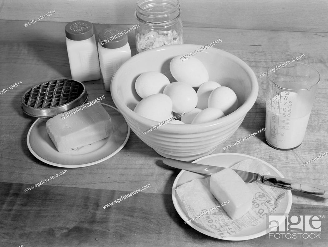 Stock Photo: Ingredients for Baked Eggs with Cheese, A Meat Substitute, Ann Rosener for Office of War Information, October 1942.
