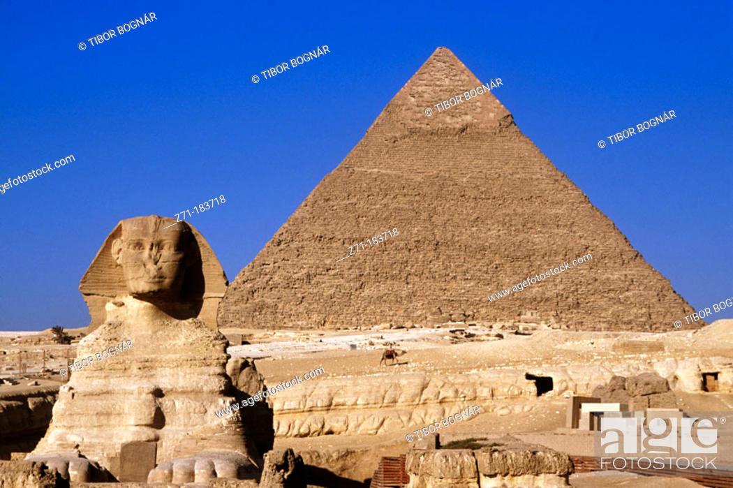 Stock Photo: Sphinx and Pyramid. Giza. Egypt.
