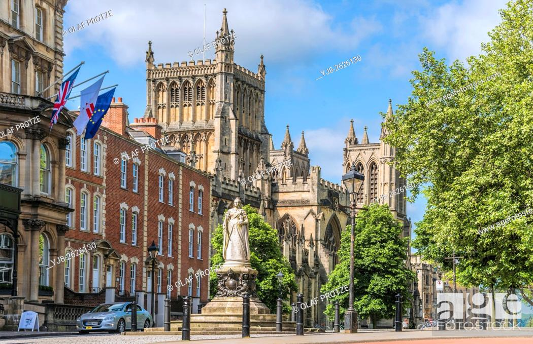 Stock Photo: Statue of Queen Victoria in front Bristol Cathedral Church on College Green, Somerset, England, United Kingdom.