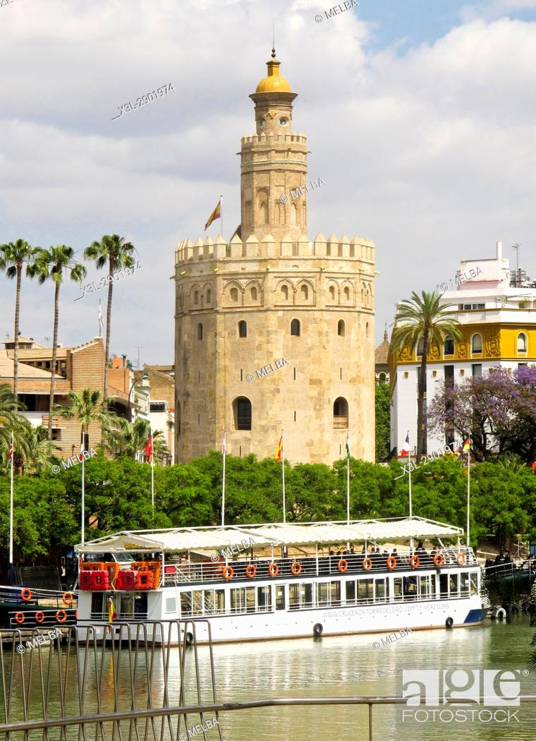 Stock Photo: Torre del Oro and Gualdalquivir River. Seville. Andalusia. Spain.