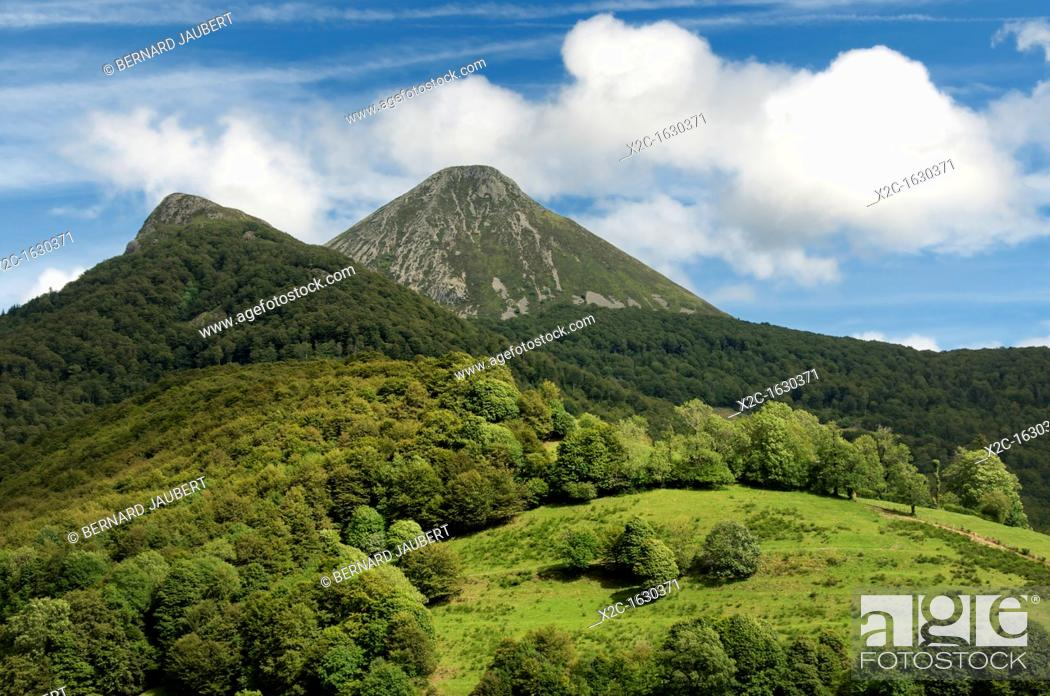 Stock Photo: The mountains Puy Griou and Monts du Cantal, Département Cantal, Auvergne region, France, Europe.