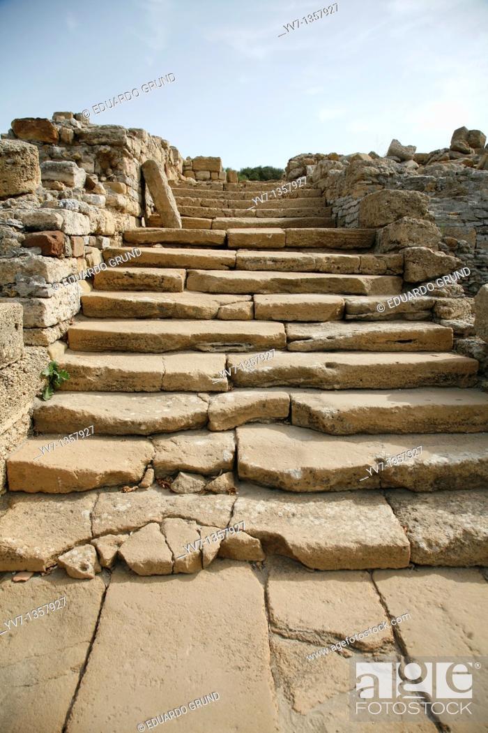 Stock Photo: Remains of columns and capitals of the ancient Roman temple, Carteia Archaeological, San Roque, Cádiz, Andalucia, España.