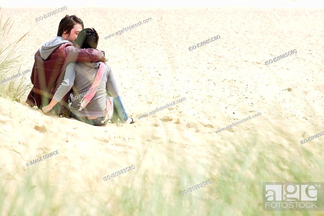 Stock Photo: Loving couple on a beach.