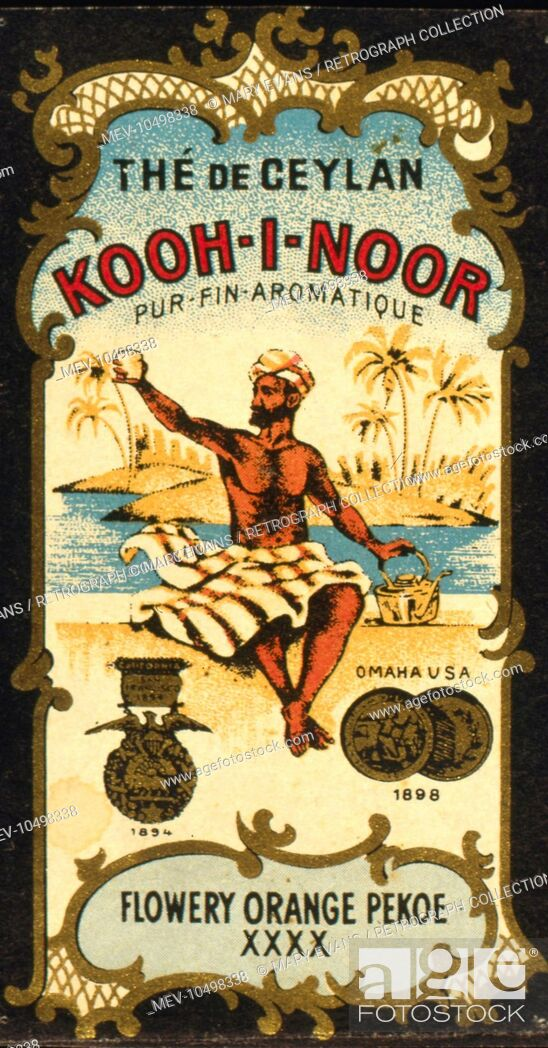 Stock Photo: Advertisement for Kooh-I-Noor Tea from Ceylon (Sri Lanka), Flowery Orange Pekoe XXXX, showing a man in a turban with a cup of tea.