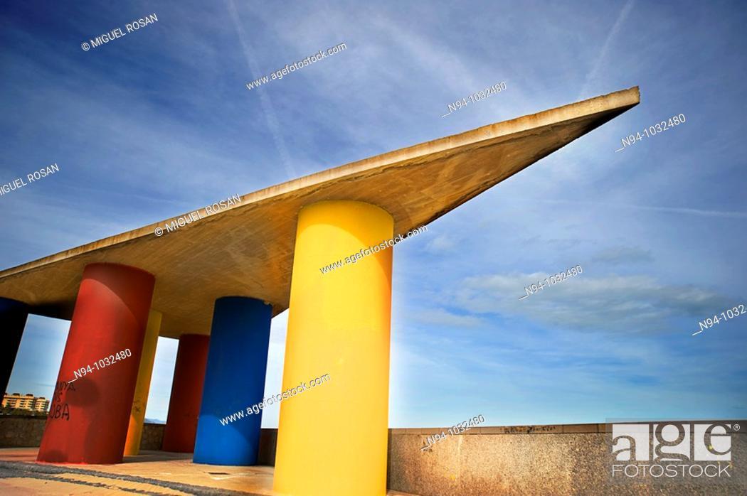 Stock Photo: Decorative architectural element Malvarrosa beach of Valencia. Comunidad Valenciana. Spain.