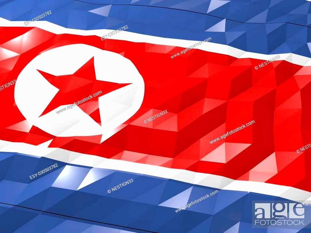 Flag Of North Korea 3d Wallpaper Illustration National Symbol